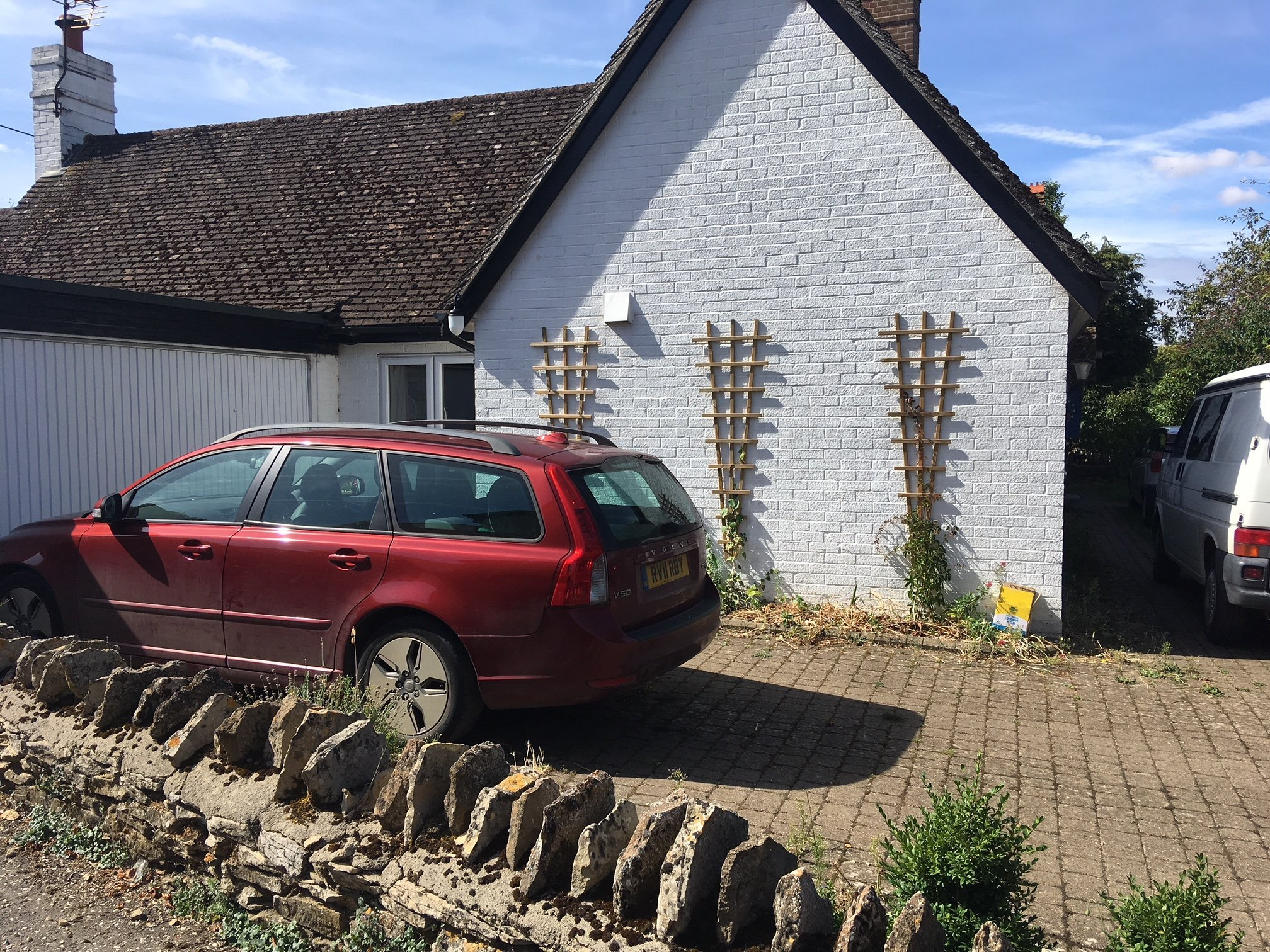 eight , or first car: parking very close to the garage door