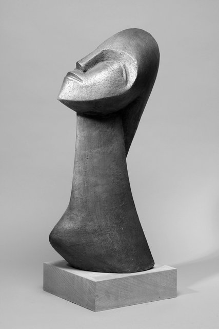 Woman with Plat 2008,  93 x 23 x 20cm  Painted Ceramic    SOLD