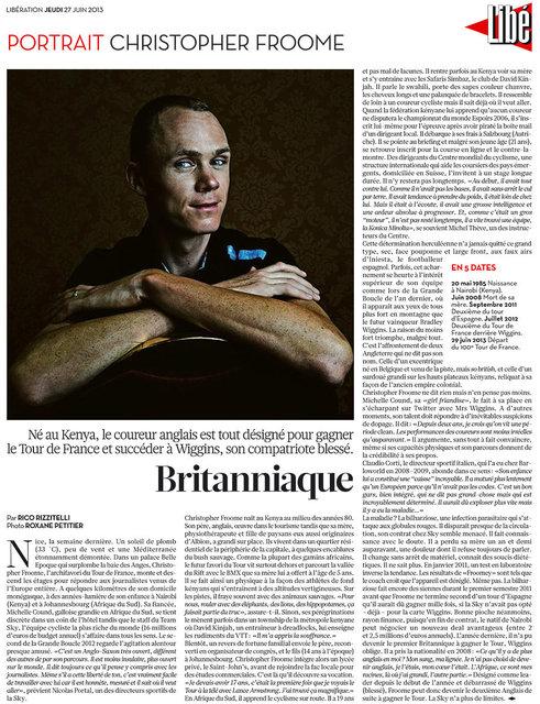 Portrait de Christopher Froome pour la der de Libération