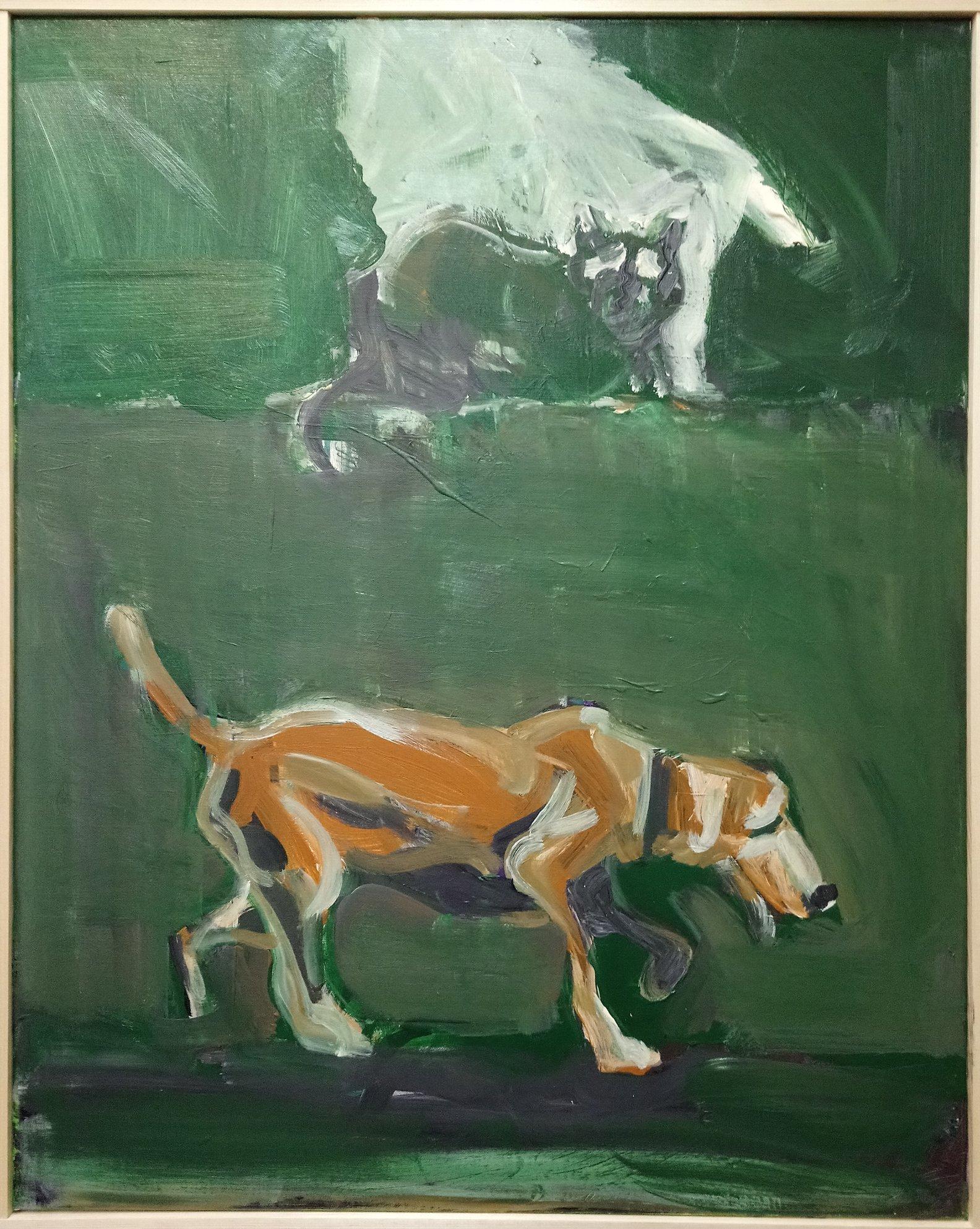 Pies i kot 100x80 olej płótno 2019