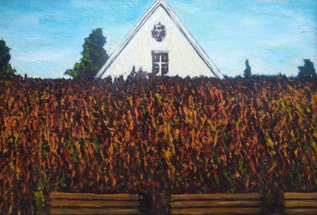 Jesień przy eremach pokamedulskich na Bielanach 50x73 olej płótno 2017