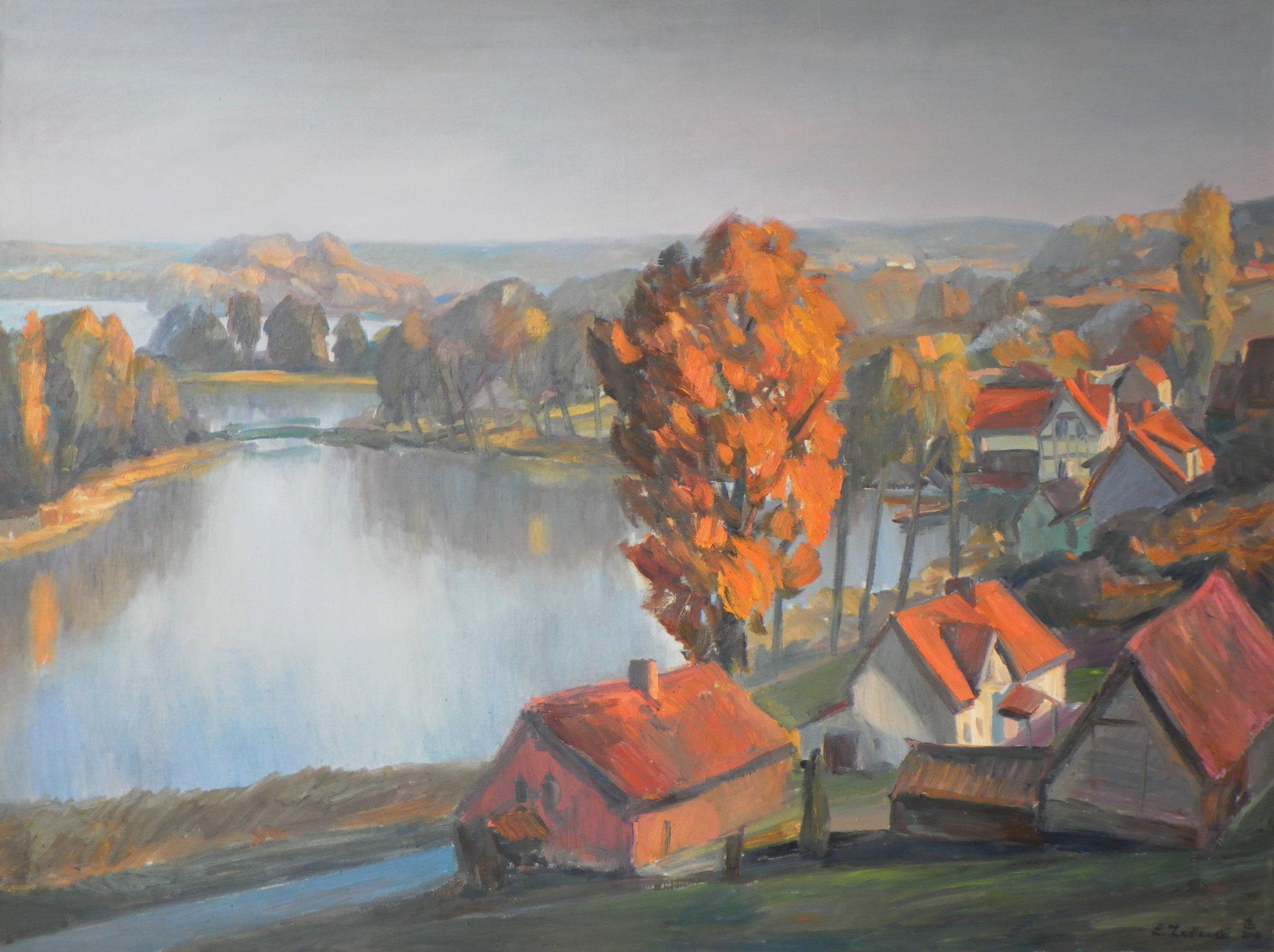 Jezioro Wulopińskie 120x160 olej płótno 2015 (wł.pr.)