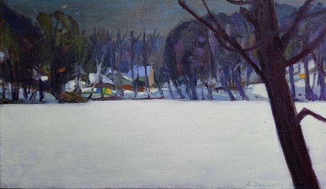 Miodówko. Zima. 35x60 olej płótno 2013