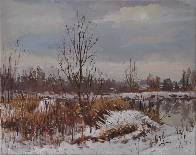 Zima w Radomyślu 40x50 olej płótno 2017