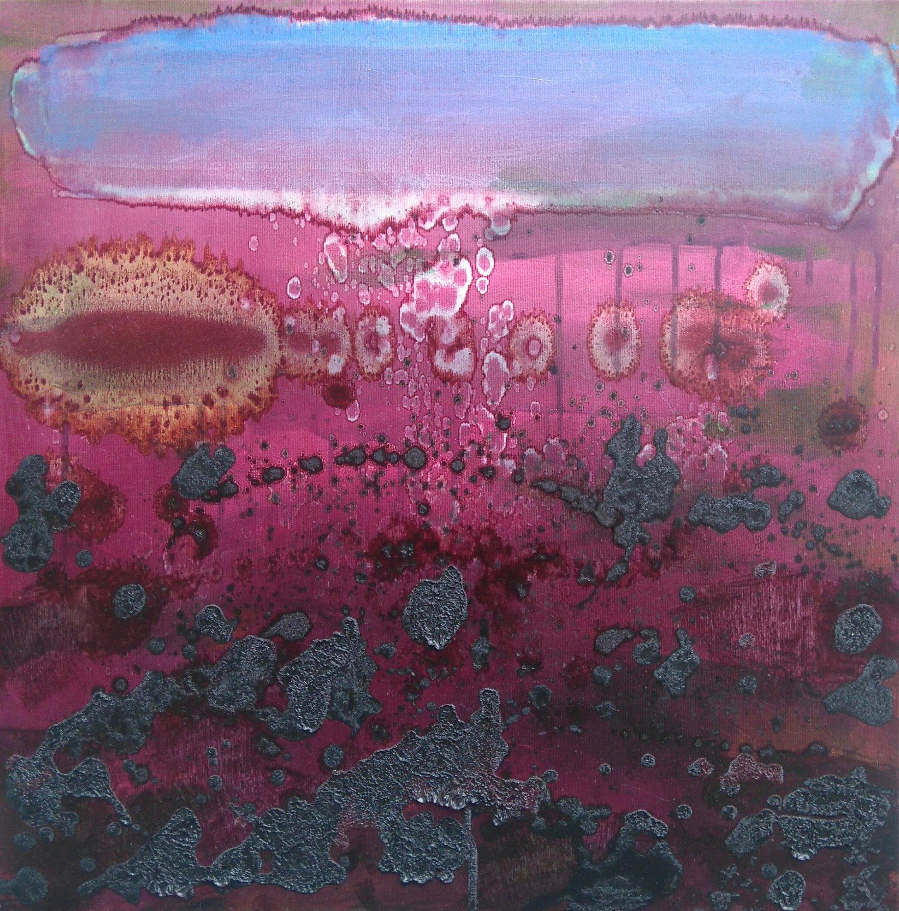 Różowy pejzaż 60x60 olej płótno 2017