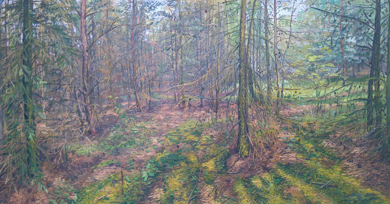 Modrzewiowy las 95x175 olej płótno