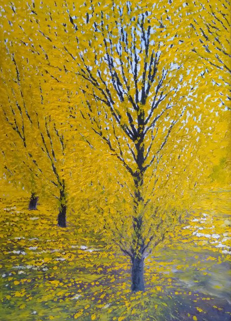 Trzy drzewa 46x33 olej płótno 2020