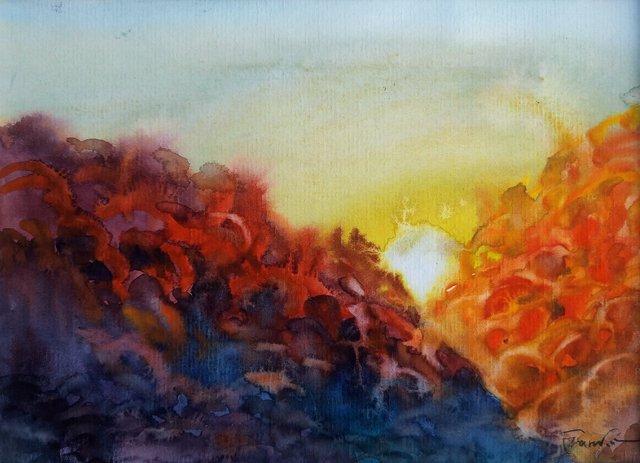 Zachód słońca 24x30 (15x21) akwarela