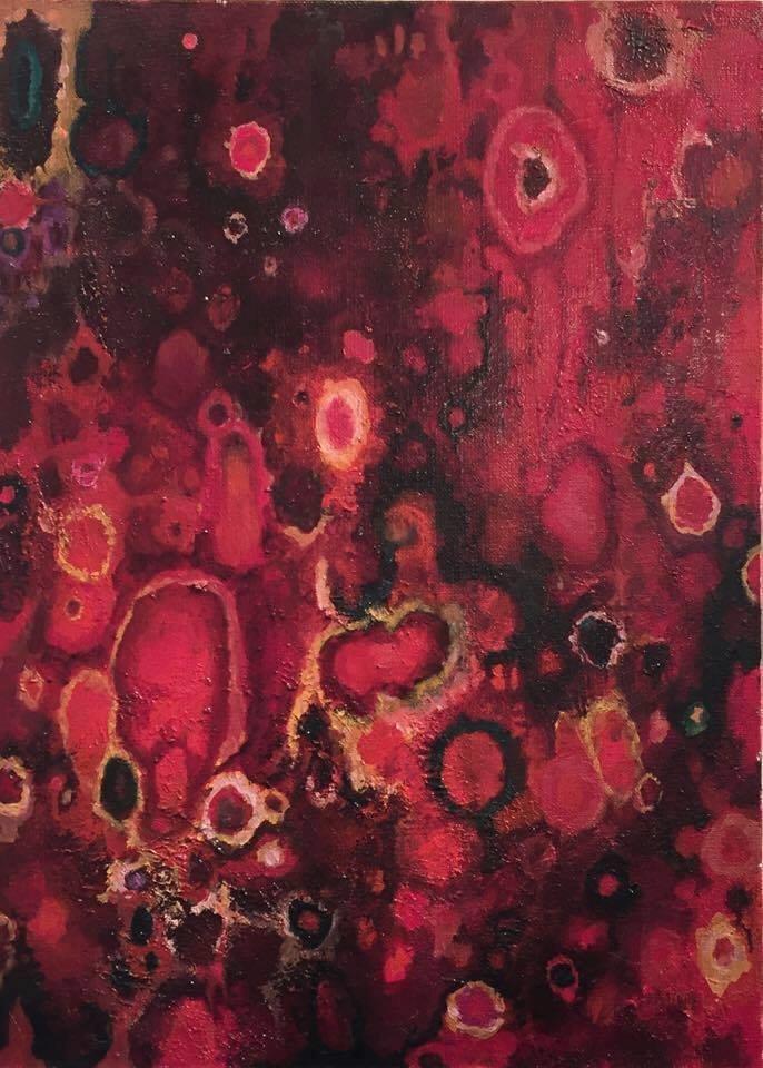 Czerwona łąka 55x40 olej płótno 2014 (wł. pryw.)