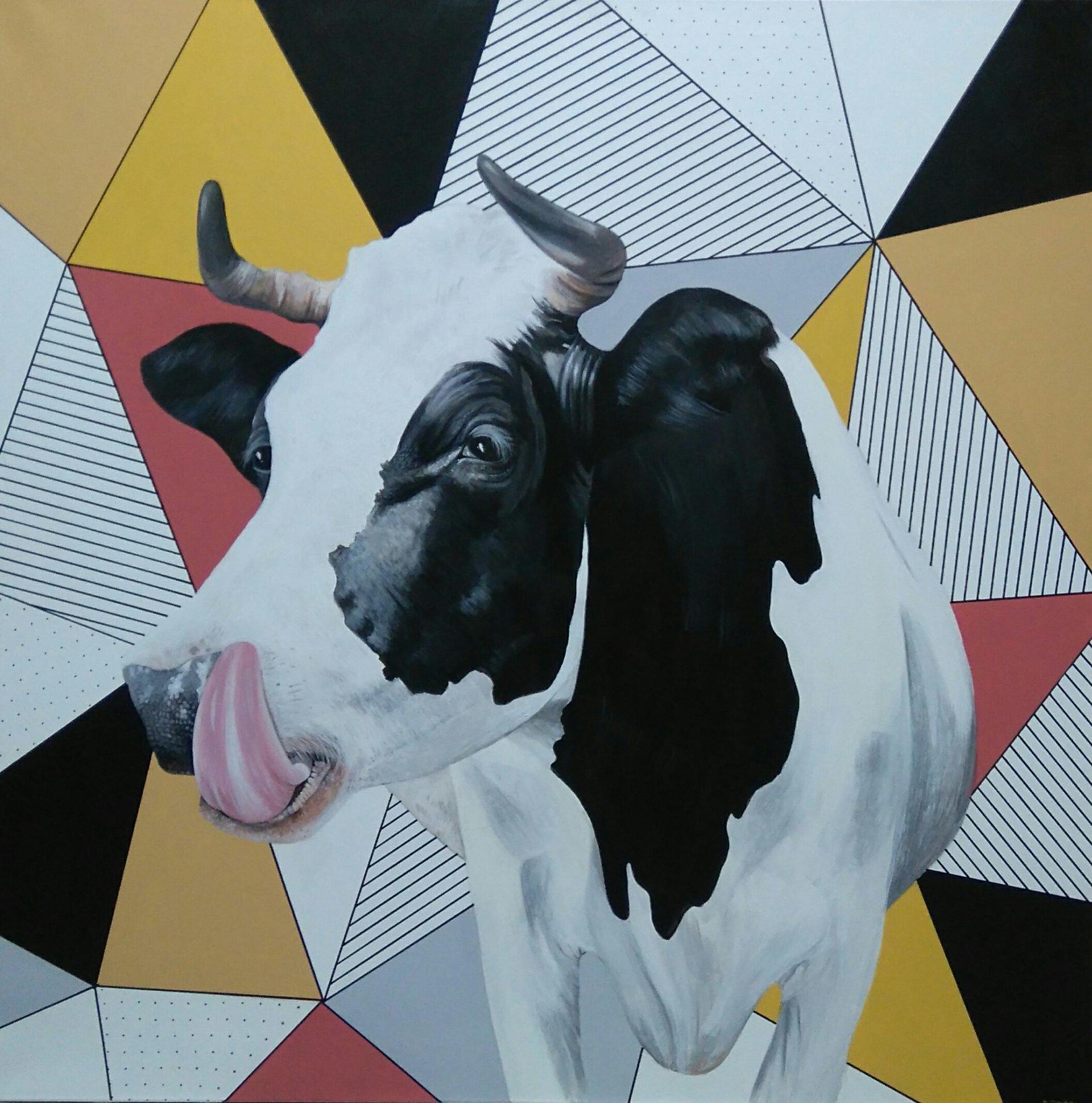 Krowa 100x100 akryl płótno 2017