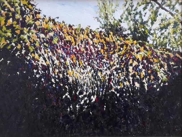 Mur jesienny 33x46 olej płótno 2020