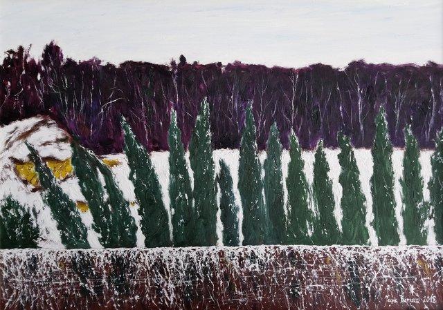 Krajobraz zimowy z Kazimierza Dolnego 65x92 olej płótno 2018
