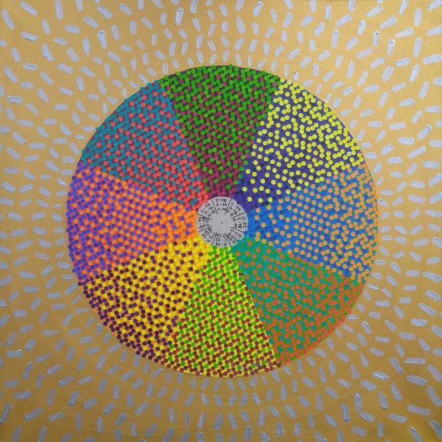 Koło barw złamanych 80x80 akryl płótno 2019