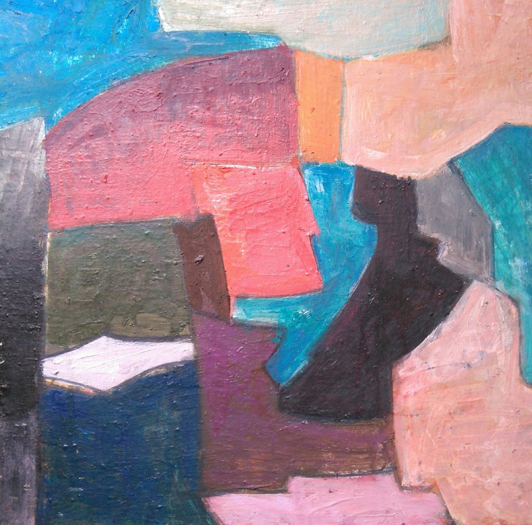 Płynne przejścia w abstrakcji prowadzą do całości 45x45 olej płótno 2016