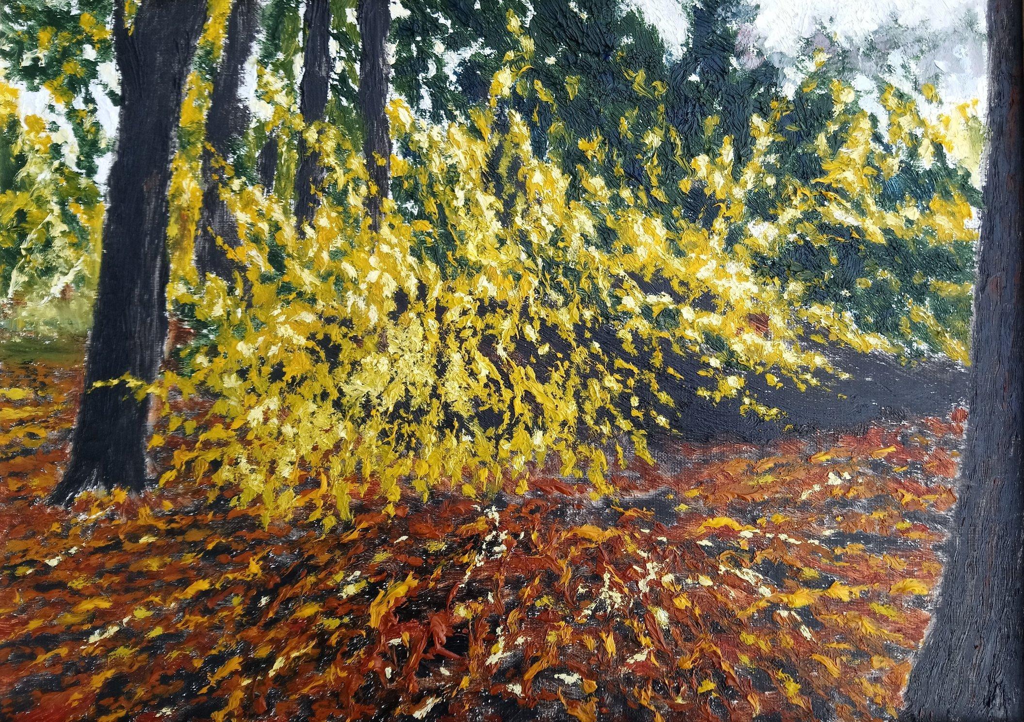 Jesień w Łazienkach Królewskich 33x46 olej płótno 2018