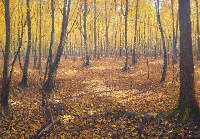 Jesienny las 70x100 olej płótno 2019