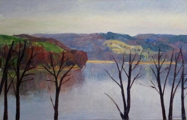 Jezioro Wulpińskie 110x70 olej płótno 2014