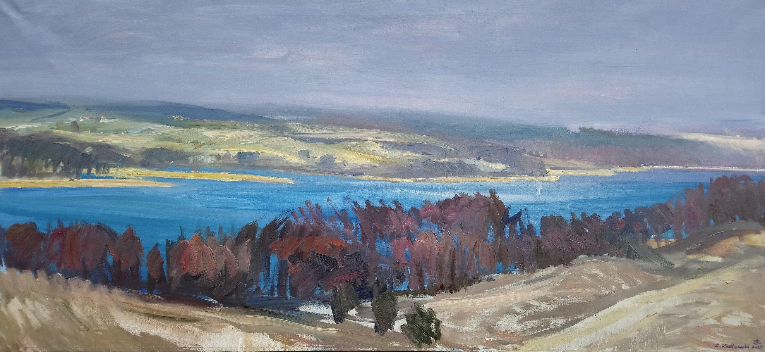 Panorama Jeziora Wulpińskiego 70x150 olej płótno 2017 3600.JPG