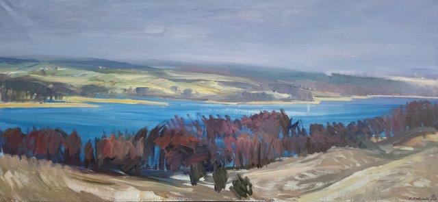 Panorama Jeziora Wulpińskiego 70x150 olej płótno 2017