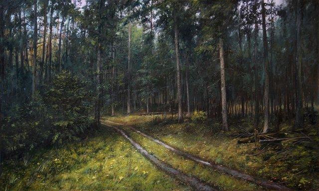 Ciemny las 90x150 olej płótno 2019