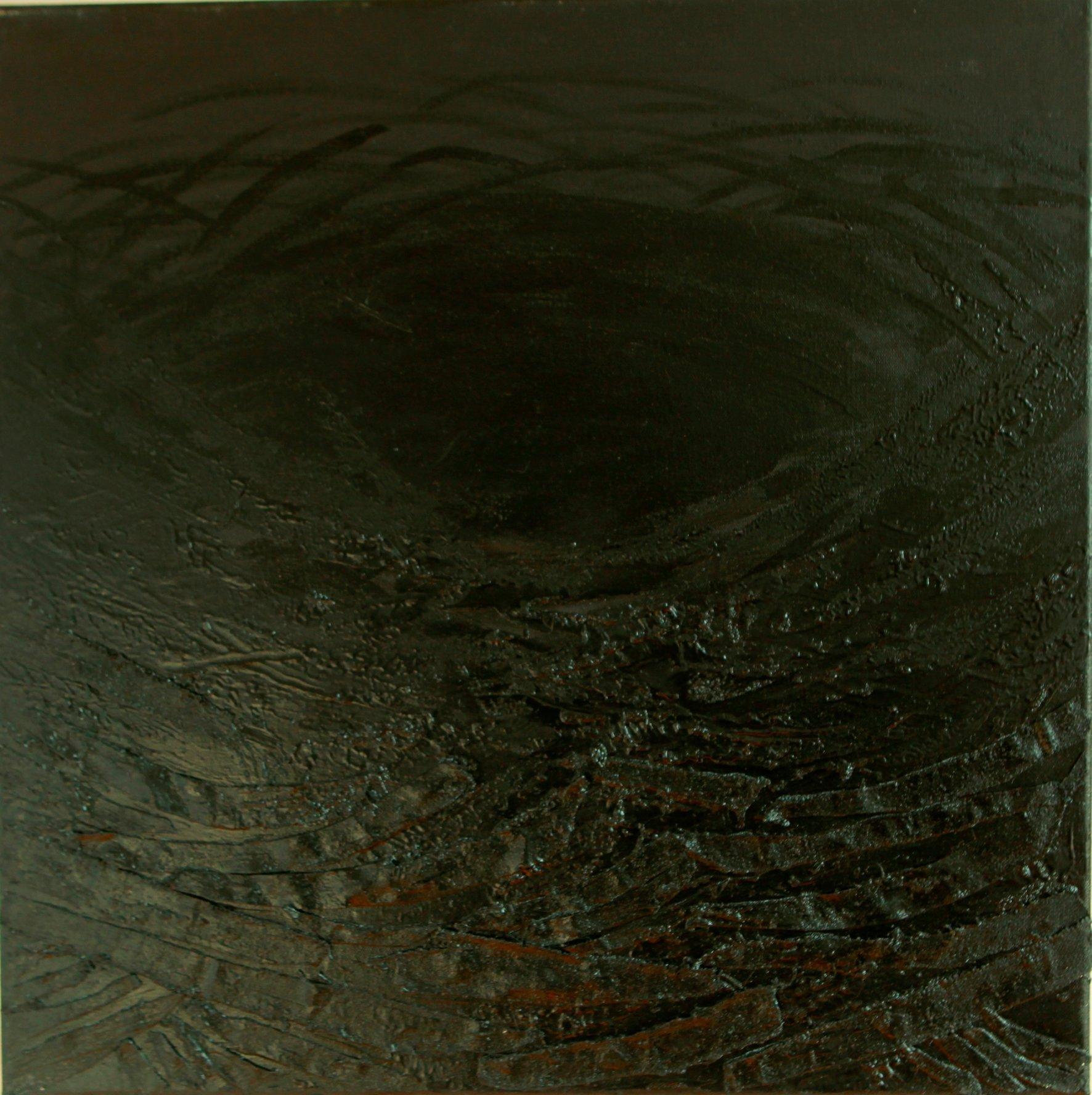 Czarne gniazdo 60x60 olej płótno