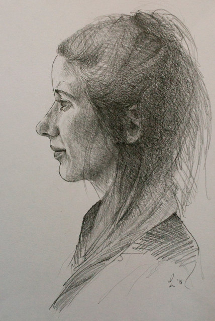 Portretstudie 'en profile' (Clara), 2015