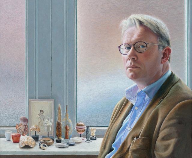 De schilder Piet Sebens in zijn atelier, 2019