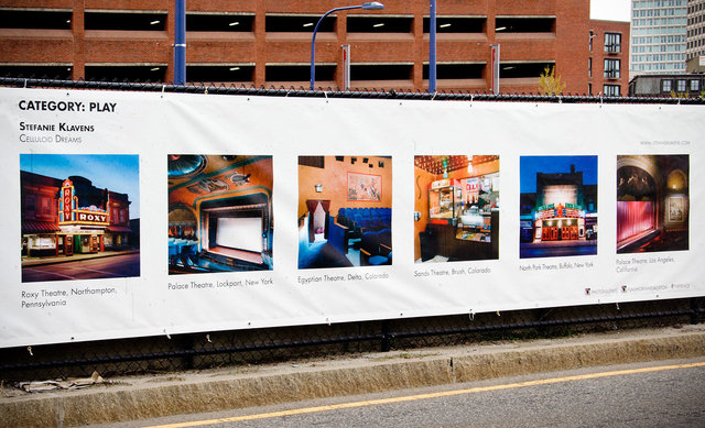 """Photoville's """"The Fence"""", outdoor exhibit           Rose Kennedy Greenway, Boston, MA"""