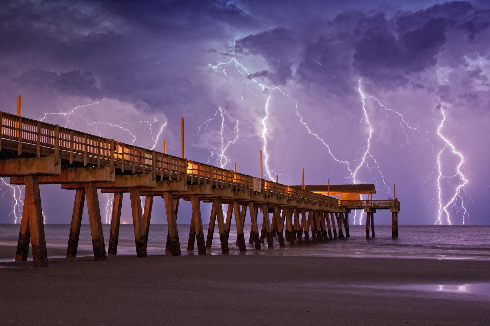 Tybee Island Pier Lightning Storm