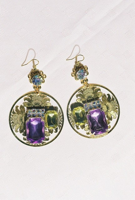COIN shaped earrings with lavender, yellow stones.