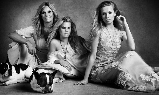 Harper's Bazaar. Patti Hansen, Theodora and Alexandra Richards. Family Affair, May 2013
