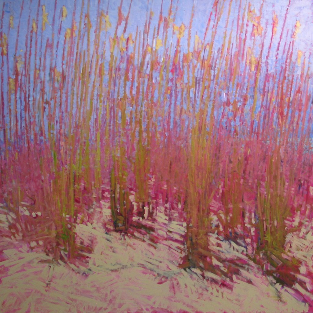 "Sea Oats Along Fort Pickens Road, 2013, Acrylic on Canvas, 72"" x 72"""