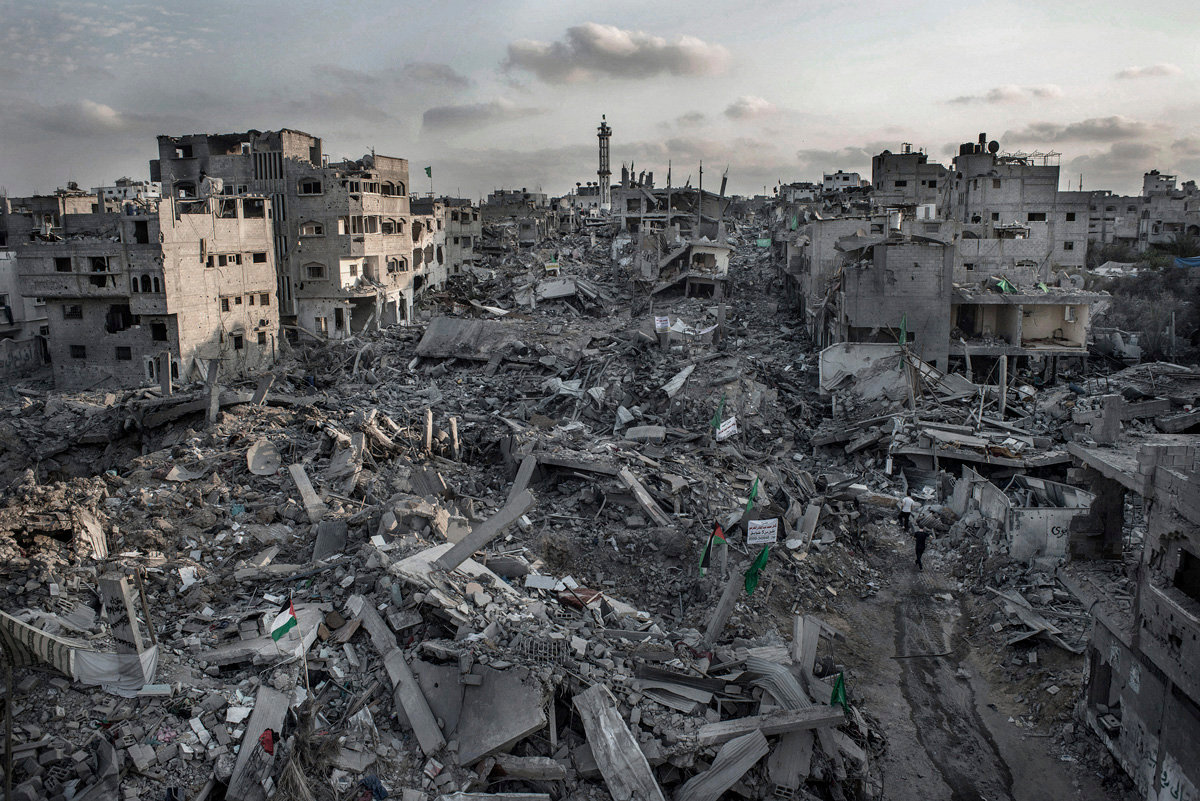 Overview of Shejaiya district from the roof of a destroyed Mosque, Gaza Strip