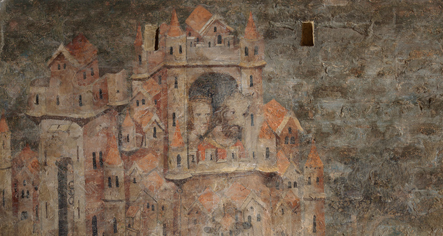 Medieval wallpainting, detail