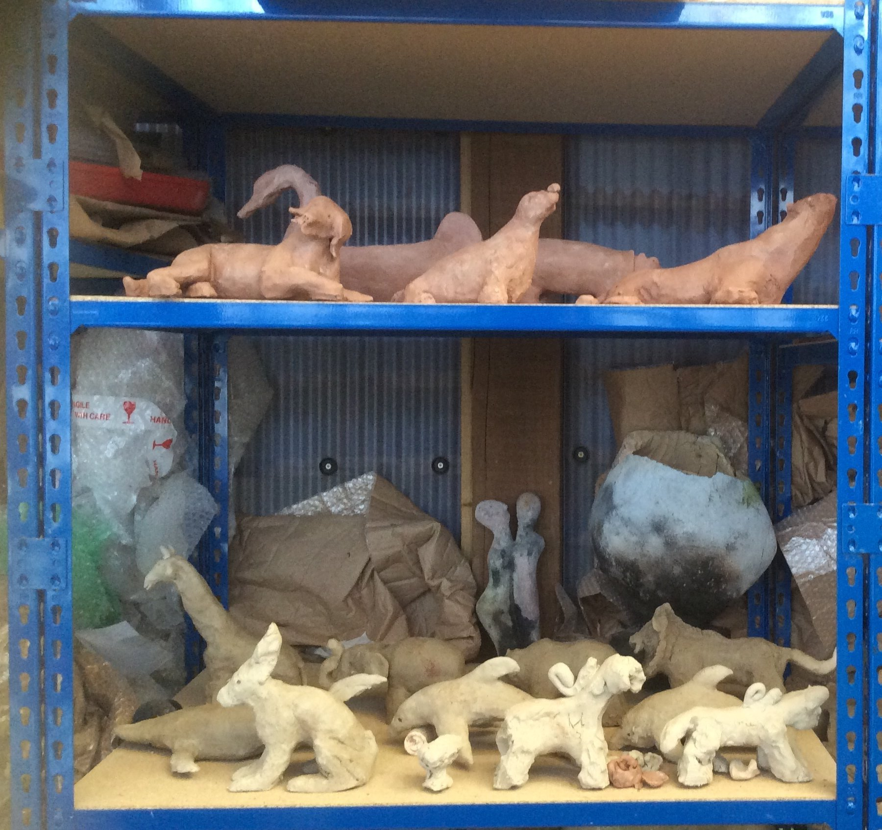 More heavy duty shelving in the large ion shed -  sculptures ready to dry, and then be fired