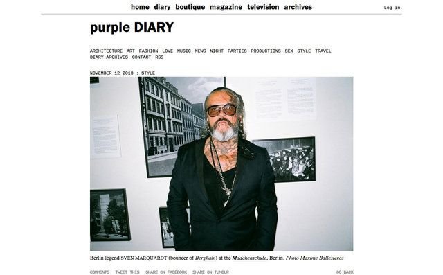 purple DIARY   Berlin legend Sven Marquardt  bouncer of Berghain  at the Madchenschule  Berlin. Phot