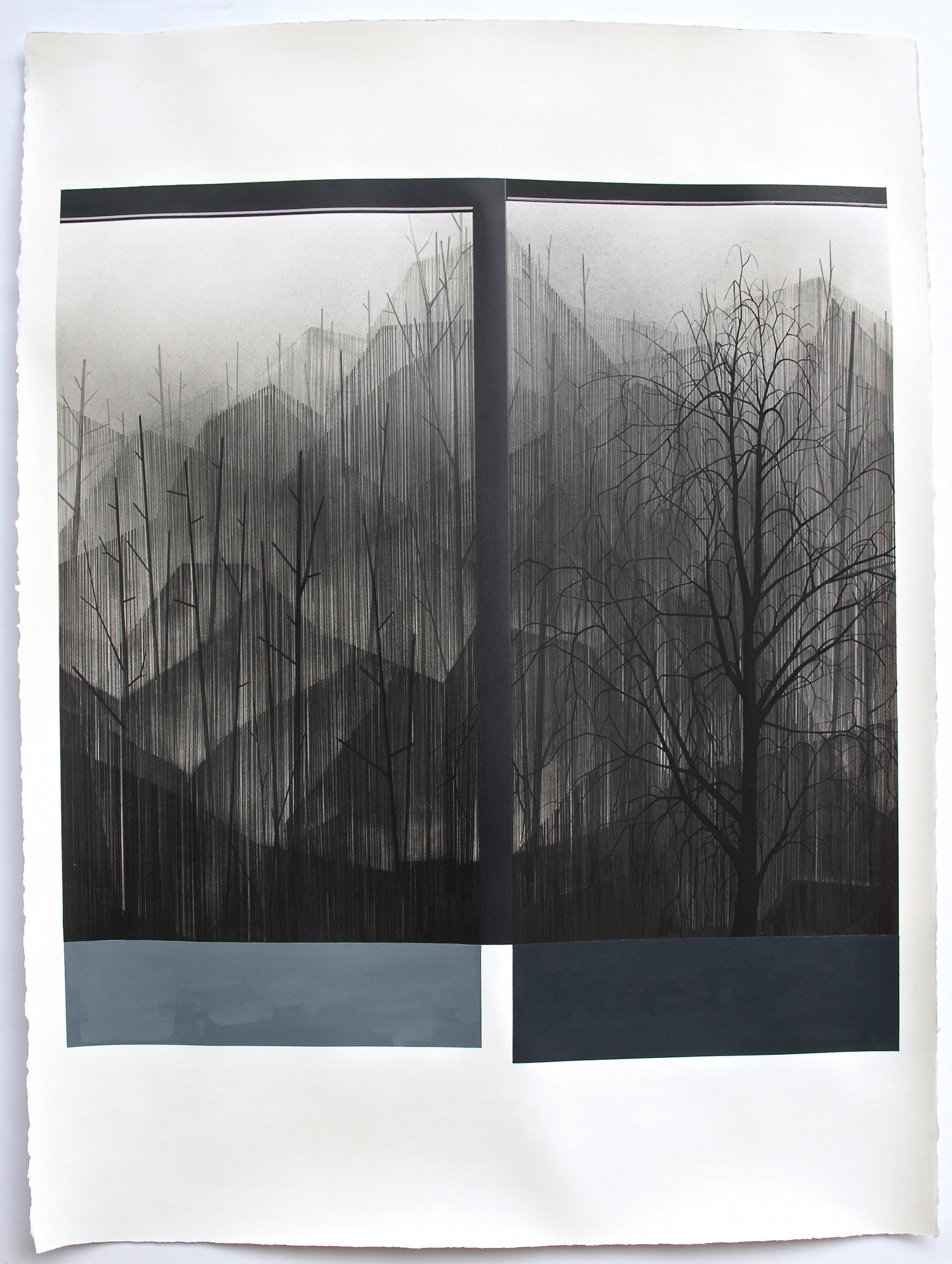 Junction, 2015, graphite, gouache and acrylic on paper, 30 x 22 ½ ""