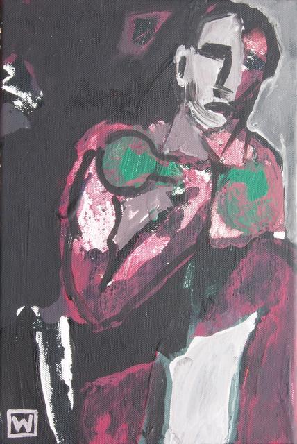 """""""Melankolijny siłacz"""", akryl na płótnie, 33 x 22"""
