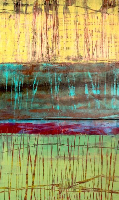 Isleta pueblo, Nm $1,250.00 30x18 in, Oil & Cold Wax on a birch wood panel