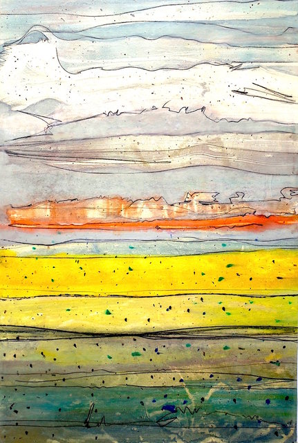 Carlsbad, NM Monotype on wood panel 36x24 in