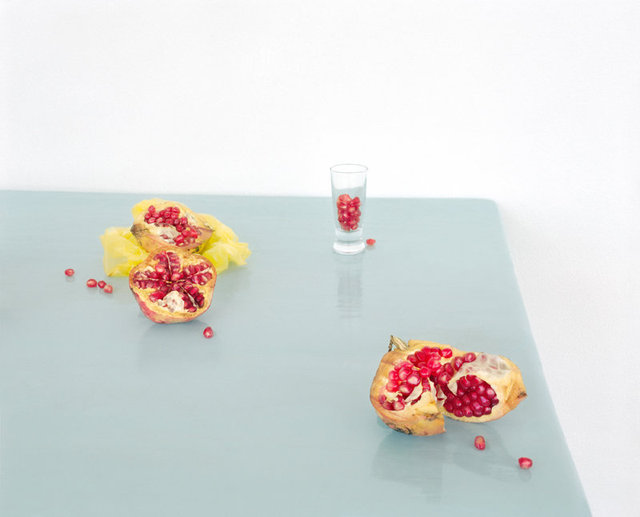 Pomegranates on Blue, c 2013