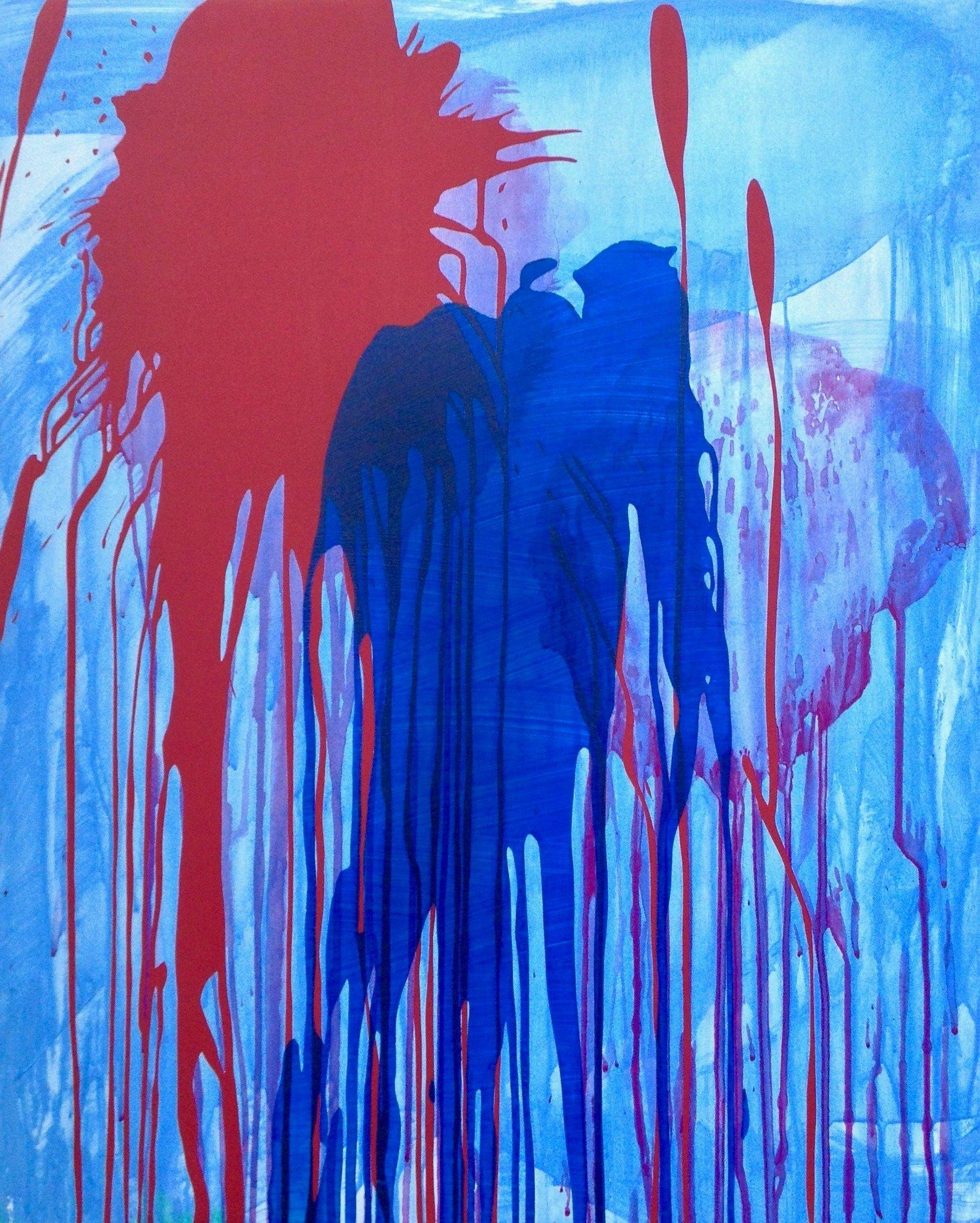 Untitled (splash on blue lavis)