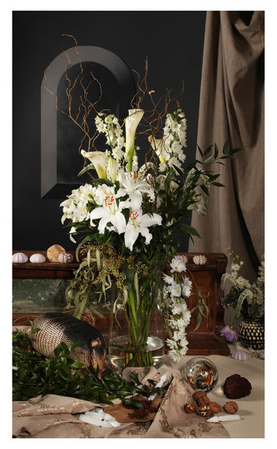 Evergon & Jean-Jacques Ringuette (Chromogenic Curmudgeons) - White Lillies with Armadillo
