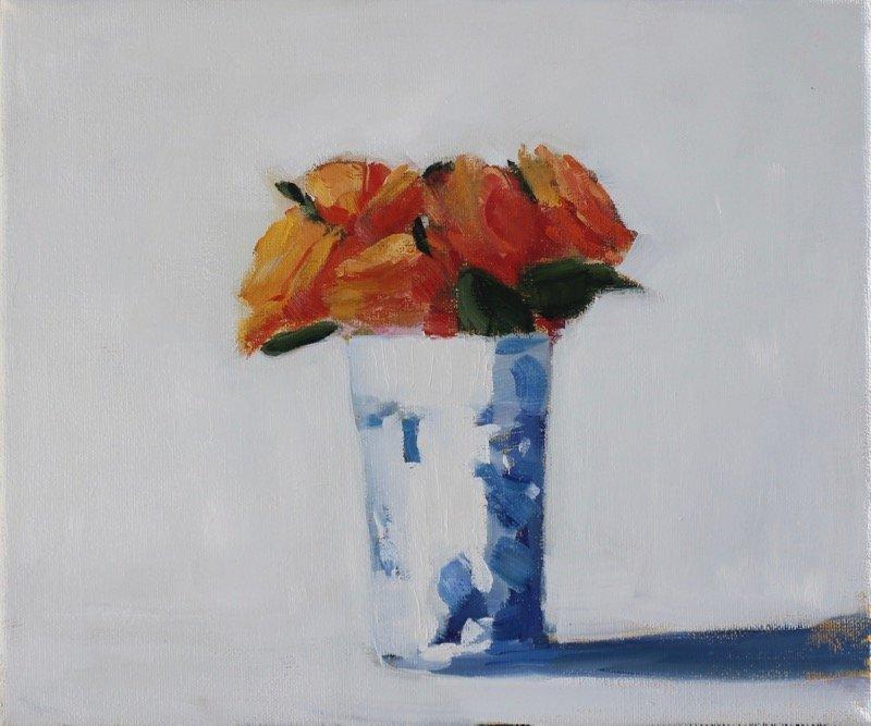 Tea Cup Orange Roses
