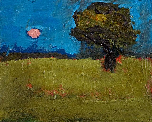 Jennifer Hornyak - Landscape with Pink Moon