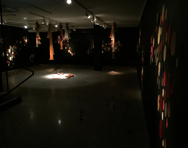 Installation made for Tomelilla konsthall 2016, materials: Crocheted nets, stones washed in the sea, leather patches, yarn and wooden yarn holders. The installation is my reaction on the part of Sweden where Tomelilla is located.