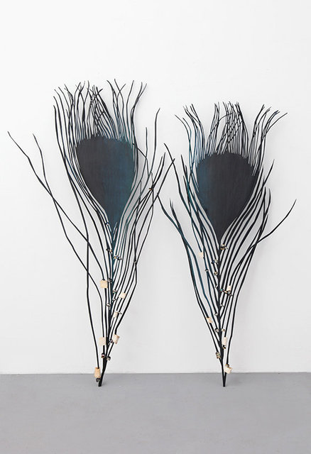 Peacock Feathers, 2021. Iron, metal rings, bones, enamel paint. 180 x 171 x 15 cm.