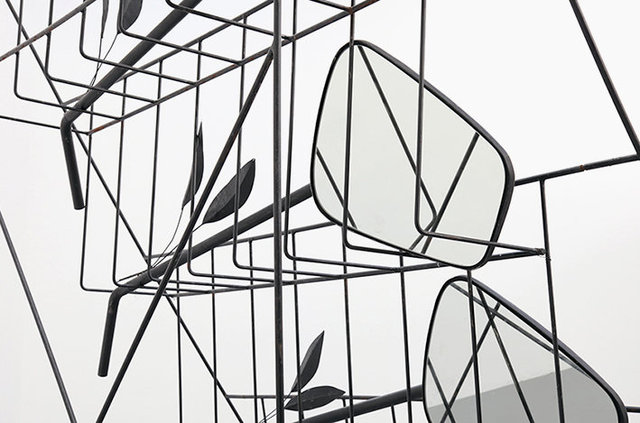 Retrovision Club, 2021, detail.  Iron, polyester, mirrors, enamel paint. 270 x 274 x 180 cm.