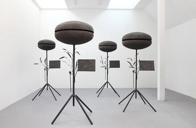 Ostinato Bells, 2020 Iron, magnets. Each approx 95 x 95 x 240 cm.  Bells ø 70, 80, 90 & 100 cm