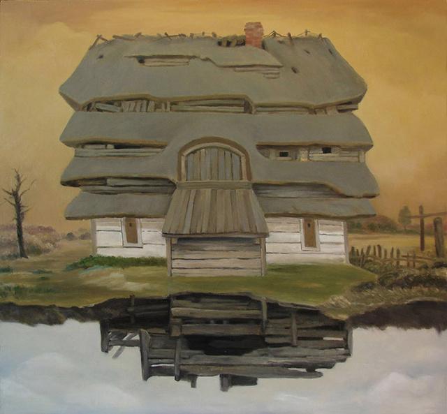 chata z brodą, olej na płycie, 56x59